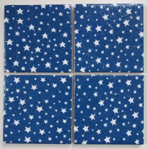 4 Shabby Chic Ceramic Coasters in Cath Kidston Christmas Stars Blue
